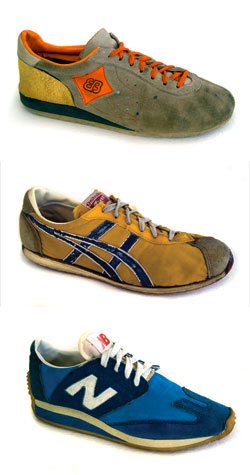 Runner's World takes a look back at old running shoes. Pictured: 1970s running shoes